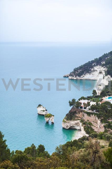 Italy, Puglia, Mattinata, Adriatic Sea, Faraglioni beach and Baia delle Zagare beach - FLMF00010