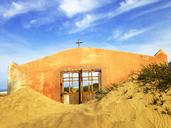 Spain, Canaray Islands, Fuerteventura, Jandia, drowned church on the beach - WWF04407