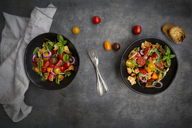 Panzanella made of roasted Ciabatta, rocket, red onions, tomatoes and basil - LVF07407