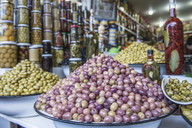 Olives at market stall, Marrakesh, Morocco - AURF03997