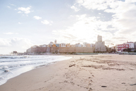 Italy, Molise, Termoli, Old town with Castello Svevo, view from beach - FLMF00022