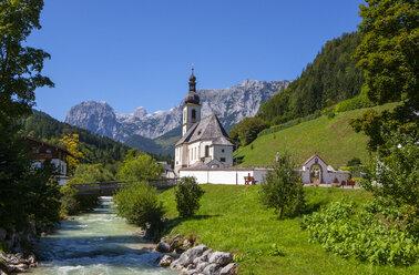 Germany, Upper Bavaria, Berchtesgadener Land, Ramsau, View to St Sebastian's Church - WWF04421