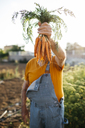 Unrecognizable senior man holding bunch of harvested carrots - JRFF01840