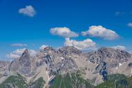Germany, Bavaria, Allgaeu, Allgaeu Alps, panoramic view of Allgaeu main ridge from Krumbacher Hoehenweg - WGF01239