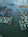 Indonesia, Bali, Harbour, Aerial view of old ships - KNTF01250