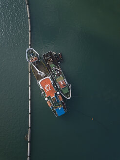 Indonesia, Bali, Aerial view of ships - KNTF01256