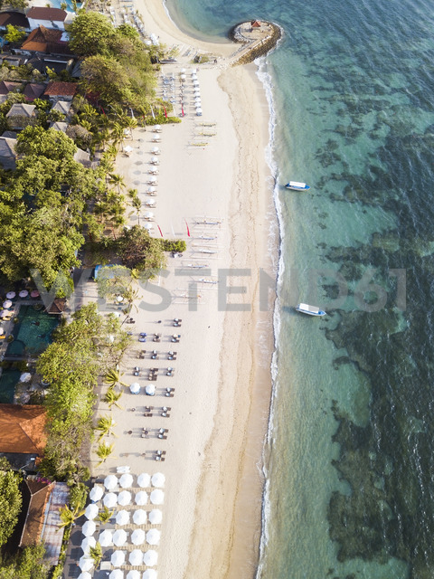 Indonesia, Bali, Aerial view of Sanur beach - KNTF01277