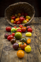 Heirloom tomatoes on wood - LVF07420