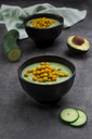 Bowl of green gazpacho with avocado and curcuma roasted chick peas - LVF07432