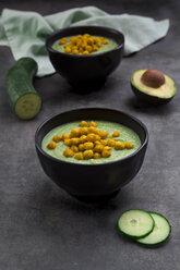 Bowl of green gazpacho with avocado and curcuma roasted chick peas - LVF07432