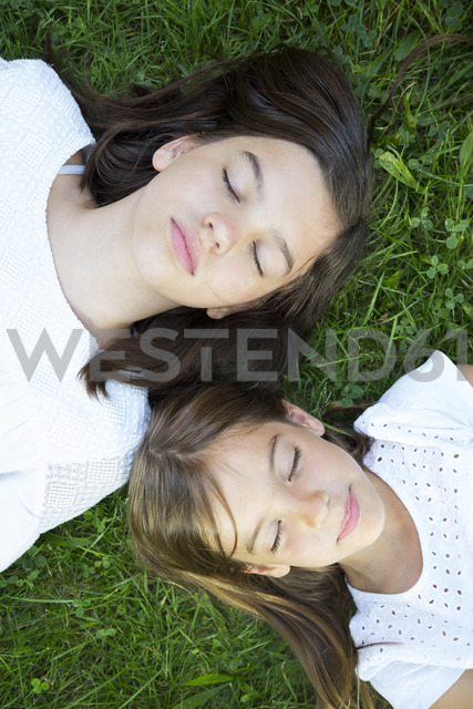 Two sisters resting together on a meadow - LVF07437