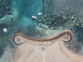 Indonesia, Bali, Aerial view of Nusa Dua beach, pier and boats from above - KNTF01282