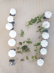 Indonesia, Bali, Aerial view of Nusa Dua beach, sun shades from above - KNTF01294