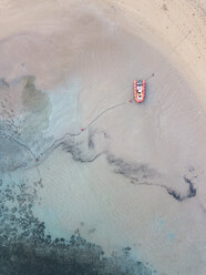 Indonesia, Bali, Aerial view of Nusa Dua beach, inflatable boat - KNTF01300