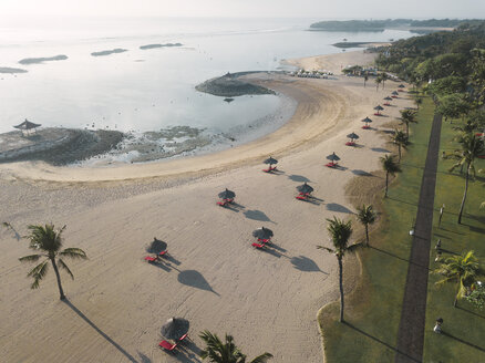 Indonesia, Bali, Aerial view of Nusa Dua beach in the morning - KNTF01306
