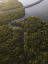 Indonesia, Bali, Aerial view of a road crossing mangrove forest at the coast - KNTF01312