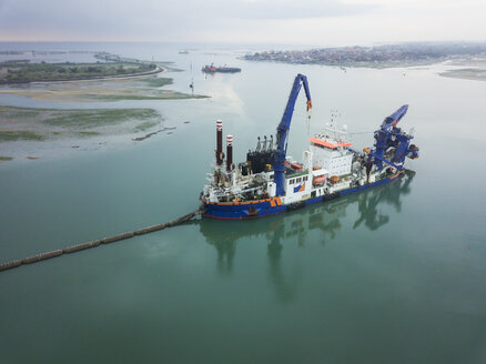Indonesia, Bali, Aerial view of ship for petroleum production - KNTF01324
