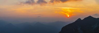 Germany, Bavaria, Allgaeu, Allgaeu Alps, View from Zeigersattel at Nebelhorn at sunset - WGF01242