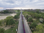 Indonesia, Bali, Aerial view of Nusa Dua beach, road and sculptures in the background - KNTF01333