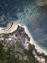 Indonesia, Bali, Aerial view of Nusa Dua beach, Temple from above - KNTF01360