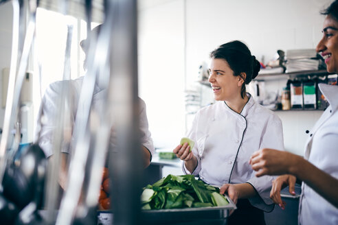Male and female chefs discussing over leaf vegetable in commercial kitchen - MASF08692