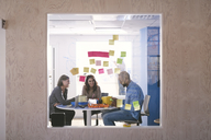 Adhesive notes stuck on glass with business professionals working in background - MASF08980