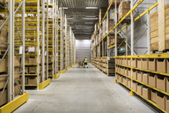 Mid distance view of senior male warehouse worker pushing cart on aisle in industrial building - MASF09160