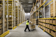 Full length of young warehouse worker pushing cart on aisle in industrial building - MASF09166