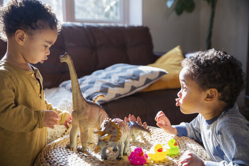 Toddler brothers playing with dinosaur and rubber duck toys - HOXF03891