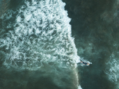 Indonesia, Bali, Aerial view of surfer - KNTF01388