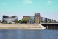 Germany, Duisburg, view to modern office buildings at inner harbour - WI03600