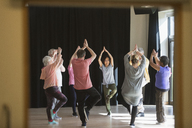 Active seniors exercising in circle, practicing yoga tree pose - CAIF21877
