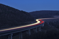 Germany, Bavaria, S-shaped highway  A3 between Würzburg and Aschaffenburg, long exposure - RUEF01951