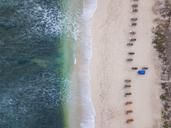 Indonesia, Bali, Aerial view of Balangan beach, empty sun loungers - KNTF01403