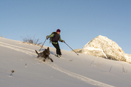 A woman and her dog skiing in the San Juan National Forest, Durango, Colorado. - AURF04117