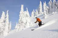 A Fit Female Skier Makes A Turn In Fresh Powder At Whitefish Mountain Resort In Whitefish, Montana - AURF04456