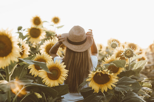 Back view of young woman standing in a field of sunflowers - OCAF00364