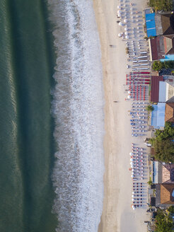 Indonesia, Bali, Aerial view of Jimbaran beach, Restaurants at the beach, from above - KNTF01454