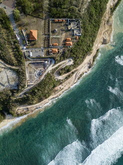 Indonesia, Bali, Aerial view of Temple complex at Payung beach - KNTF01484