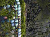 Indonesia, Bali, Aerial view of sunshades at Tanah Lot-temple - KNTF01505