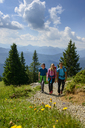 Germany, Bavaria, Brauneck near Lenggries, young friends hiking in alpine landscape - LBF02082