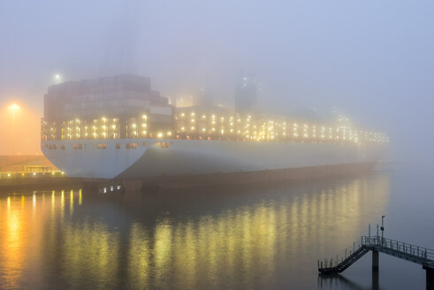 Germany, Hamburg, Harbour, Container ship in the morning - RJF00808