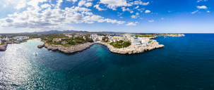 Spain, Mallorca, Portocolom, Aerial view of Punta des Jonc, Bay of Cala Marcal - AMF05917