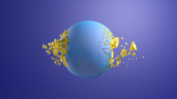 3D Rendering, Blue sphere bursting in front of blue background - AHUF00531
