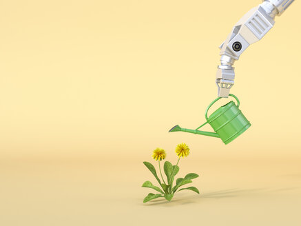 3D Rendering, Robot claw watering flowers - AHUF00540