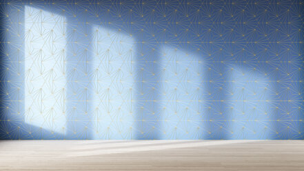 3D Rendering, Geometrically patterned wall with shadows - AHUF00546