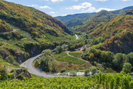 Germany, Rhineland-Palatinate, Mayschoss, Ahr Valley, country road, Ahr river - FRF00731