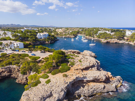 Spain, Mallorca, Portocolom, Aerial view of Cala d'Or and bay Cala Ferrera - AMF05921