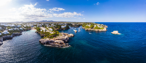 Spain, Mallorca, Portocolom, Aerial view of Cala d'Or and bay Cala Ferrera - AMF05927