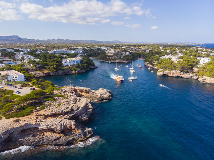 Spain, Mallorca, Portocolom, Aerial view of Cala d'Or and bay Cala Ferrera - AMF05930